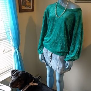 NWT We The Free Teal Velvet Sweatshirt